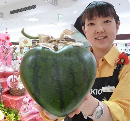 melancia coracao japonesa Frutas e legumes em formatos inusitados