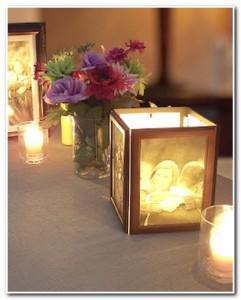 Centro de mesa com foto e vela