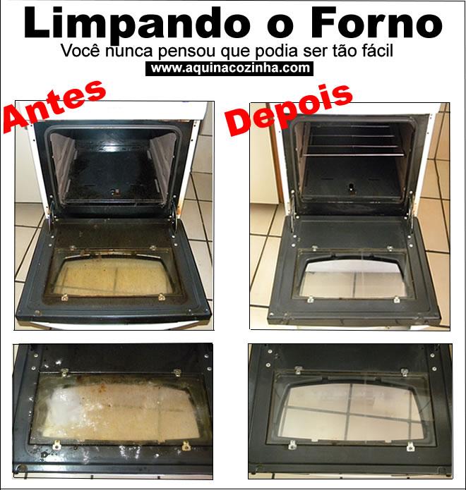 forno no chão antes e depois da limpeza