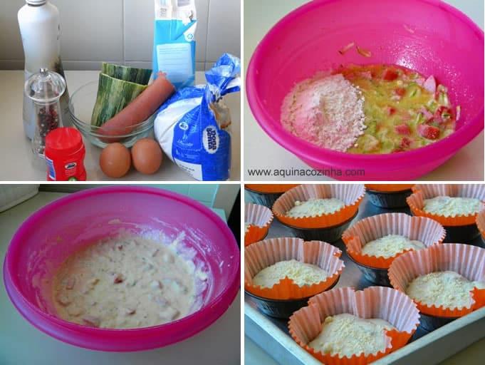 Muffin salgado de calabresa e abobrinha