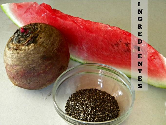 suco funcional de melancia, beterraba e chia