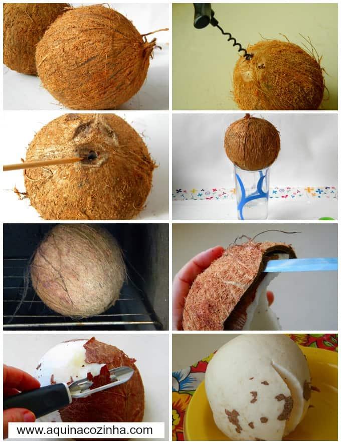 Como abrir e descascar coco
